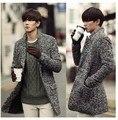 Серый осень и зима человек тёплый зима куртка средний - длинная плащ пальто мужчины в одежда шерстяная ткань пальто шерсть куртка мужчины 3XL