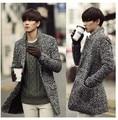 Gris otoño hombre invierno cálido chaqueta de invierno medio larga trinchera abrigo ropa hombre chaqueta de lana chaqueta de las lanas de 3XL