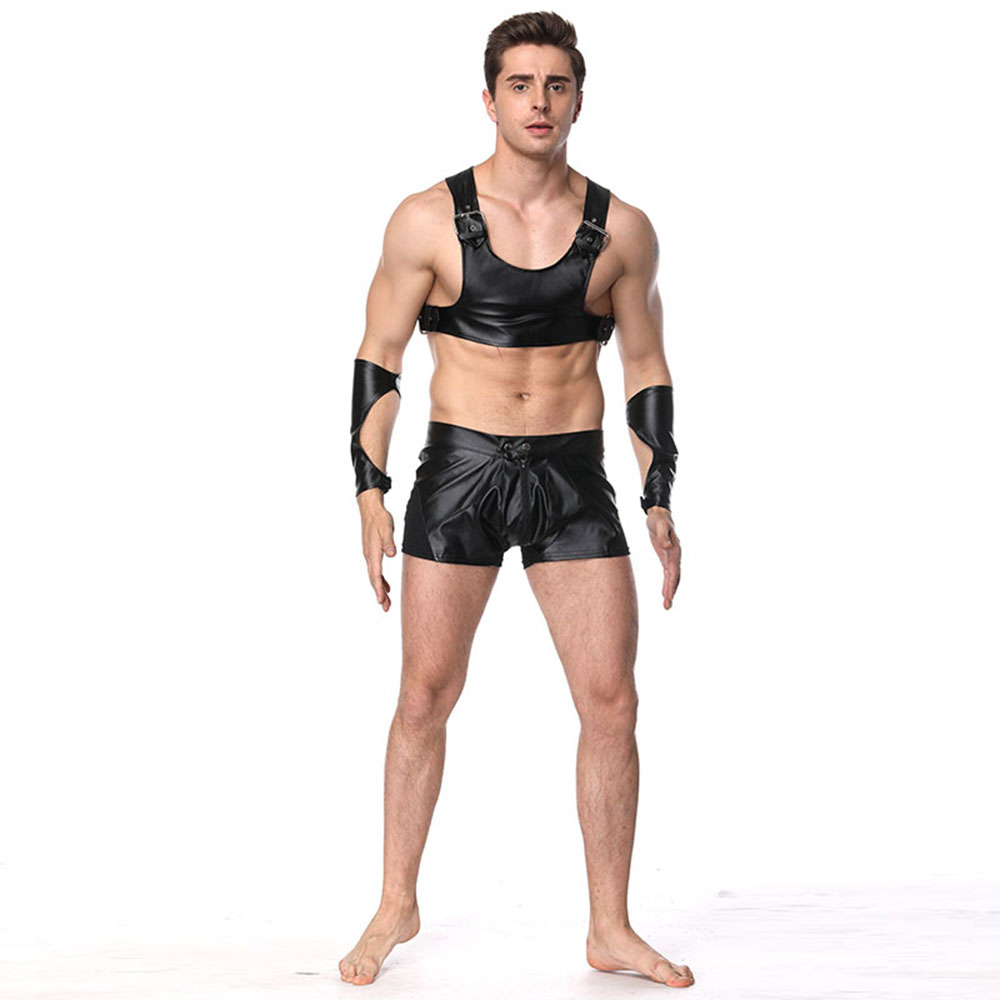 US $38.3 |Black Sexy Faux Leather Sleeveless Tops and Panties Men Pole  Dance Costume Gay Addicted Fetish Vest Clothing Vinyl Men Clothes on ...