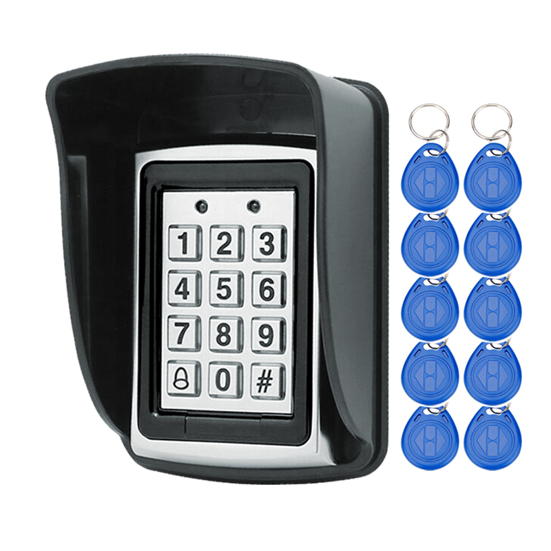Rfid Metal Access Control Keypad With Waterproof Cover Contactless Door Controller Electric Security Lock+20pcs 125KHz Keychains access control lock metal mute electric lock rfid security door lock em lock with rfid key card reader for apartment hot sale