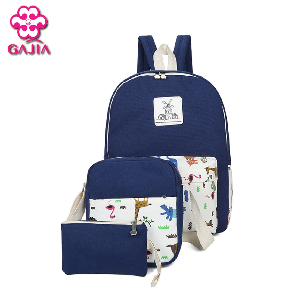 GAJIA Hot Sale Fashion Student Book Sets Bag Women Backpack High Quality Canvas Preppy Style Girl