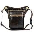 De viagem de couro genuíno equitação da motocicleta pequenos sacos do mensageiro para homens crossbody ombro cinto cintura coxa Drop Leg bolsa bolsas