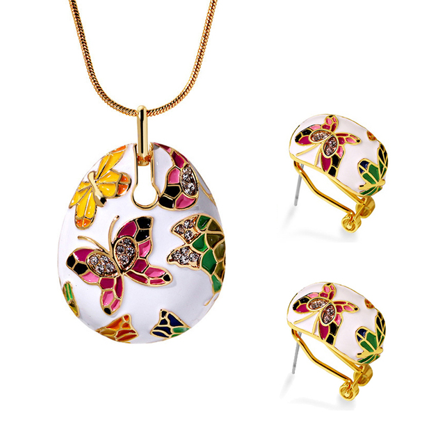 ヴィンテージエスニックスタイルエナメルカラフルな蝶女性のエレガントなネックレスペンダントイヤリング記念ギフト