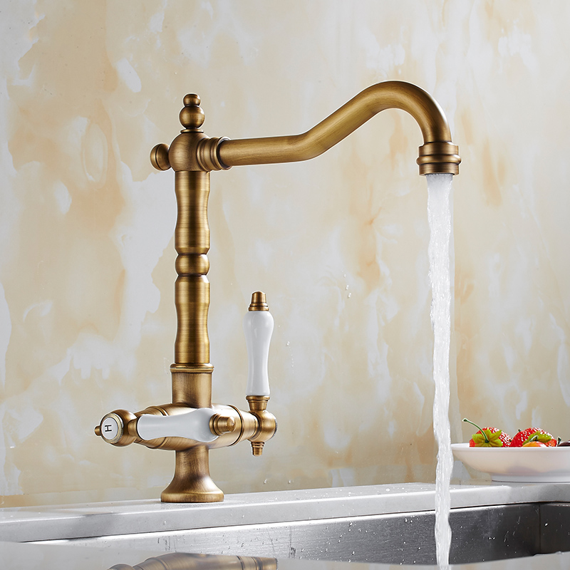 kitchen Faucet Antique Brass Body Ceramic Dual Holder Single Hole kitchen Faucet Rotate Sink Mixer Tap Bathroom Basin Faucet