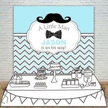 Allenjoy cenários de Aniversário Do Chuveiro de Bebê azul branco stripes sarja Bigode homenzinho Fundo do Convite da Festa de celebração