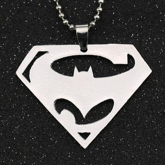 Batman V Superman Dawn Of Justice Necklace Superhero Logo Symbol Silver Color Pendant Fashion Movie Jewelry