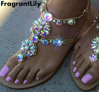 2017 New Bohemian Women Sandals Flat Heel Sandalias Thong Flip Flops Sapatos Rhinestones Chains Thong Gladiator
