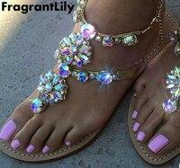 2017 New Bohemian Women Sandals Flat Heel Sandalias Thong Flip Flops Sapatos Rhinestones Chains Thong Gladiator