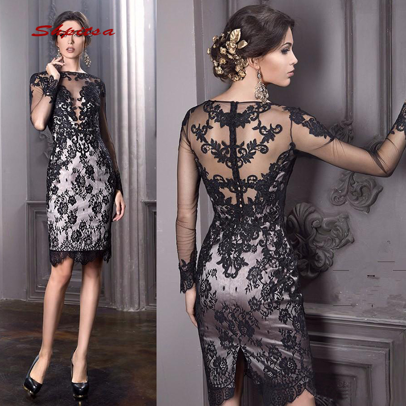 Long Sleeve Short Cocktail Dresses Party Black Lace Graduation Women Prom Plus Size Coctail Semi Formal Dresses