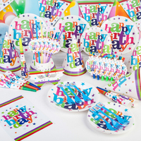 2017 Colorful 90pcs Happy Birthday Theme Tableware Set Boys Girls Toy Sets Plate Napkin Kids Event