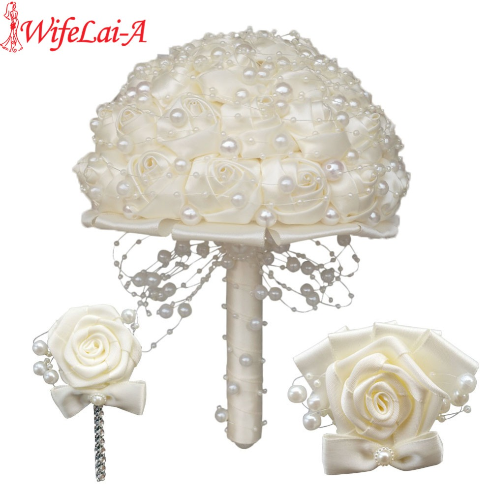 (Wrist flower and boutonniere) Ivory Pearls Satin Bouquet Cream Pearl Beaded Holding Flowers Silk Wedding Bridal Bouquet Set