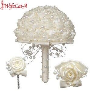 Image 1 - (Handgelenk blume und boutonniere) Elfenbein Perlen Satin Bouquet Creme Perle Perlen Blumen Halten Seide Hochzeit Braut Bouquet Set