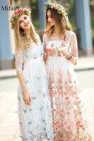 2017 zomer lichtblauw/roze half mouwen sheer kant borduurwerk effen vlinder lange vrouwen dress bohemian jurken p061714