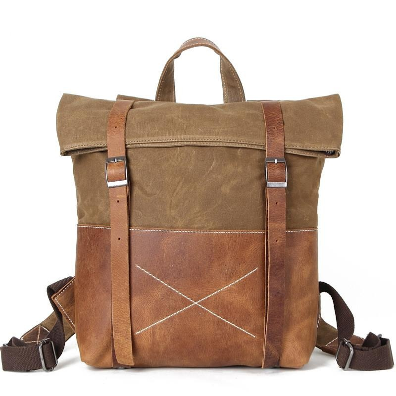 "Yupinxuan Unisex Hard Oil Waxed Canvas Leather Backpacks Criss-cross Waterproof Backpack Men For Travel 14"" Laptop Back Packs"