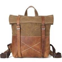 ФОТО yupinxuan unisex hard oil waxed canvas leather backpacks criss-cross waterproof backpack men for travel 14
