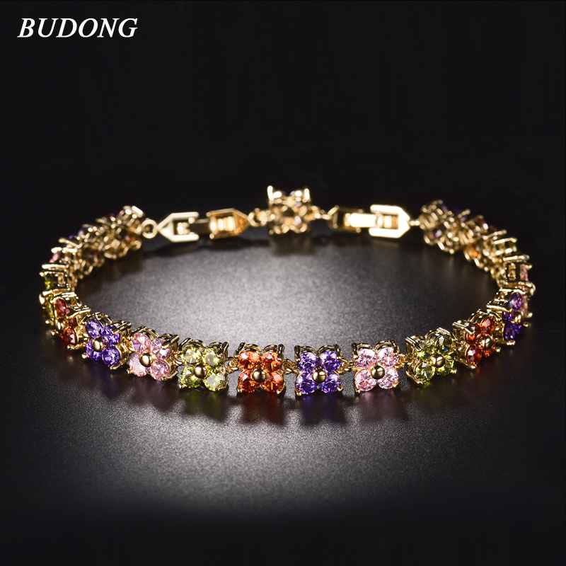 BUDONG 20cm Women Four Leaf Clover Chain Bracelets Silver/Gold Color Bracelet Fashion Crystal Cubic Zirconia Jewelry xuL109 vanaxin mens bracelets chain brass cubic zirconia silver color male bracelets cuba chian wholesale vintage punk jewelry gift box