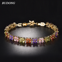 BUDONG 20cm Women Four Leaf Clover Chain Bracelets Silver Gold Color Bracelet Fashion Crystal Cubic Zirconia
