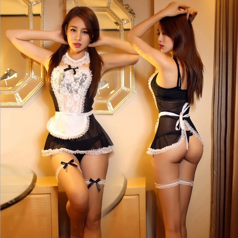 Maid Uniform Costumes Role Play 2016 Women Sexy Lingerie Hot Sexy Underwear Lovely Female White Lace Erotic Costume 25(China)