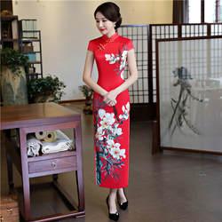 Шанхай история из искусственного шелка Qipao длинное платье Cheongsam национальный тренд платья короткий рукав тонкий традиционный китайское