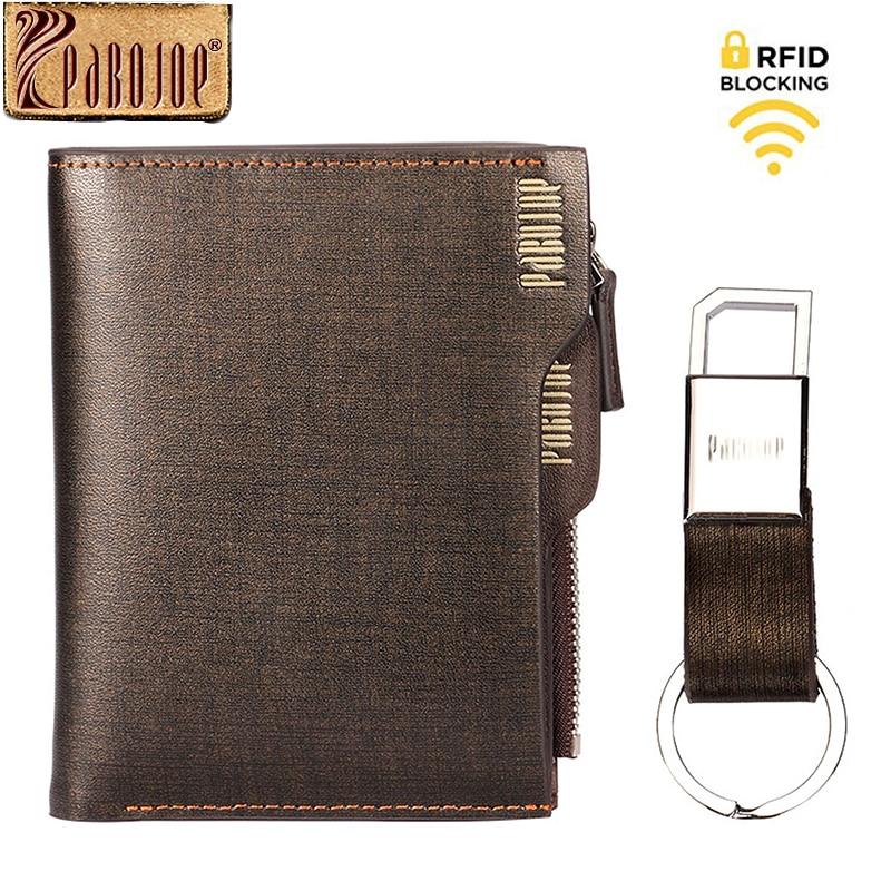 Pabojoe mode RFID bloquant les portefeuilles des hommes à deux volets sac à main en cuir fendu porte-carte avec pochette à fermeture éclair