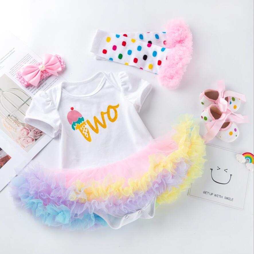 4PCs per Set Rainbow Ice Cream Baby Girls Crown 1st 2nd Birthday Party Dress Jumpersuit Headband Shoes Leggins for 0-24Months