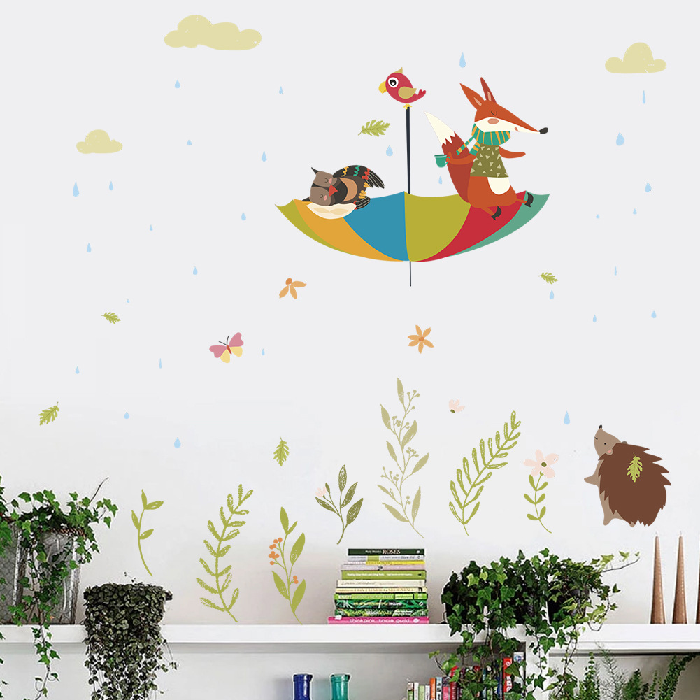 DIY Cartoon Fox Umbrella Wall Stickers Nursery Bedroom Living Room ...