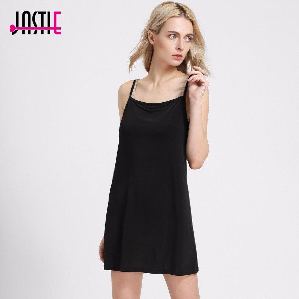 Black dress under knee - Jastie Summer Style Lining Dress Suspenders Elastic Base Vestidos Lined Boho People Style Under Dresses Beach Dress 8079