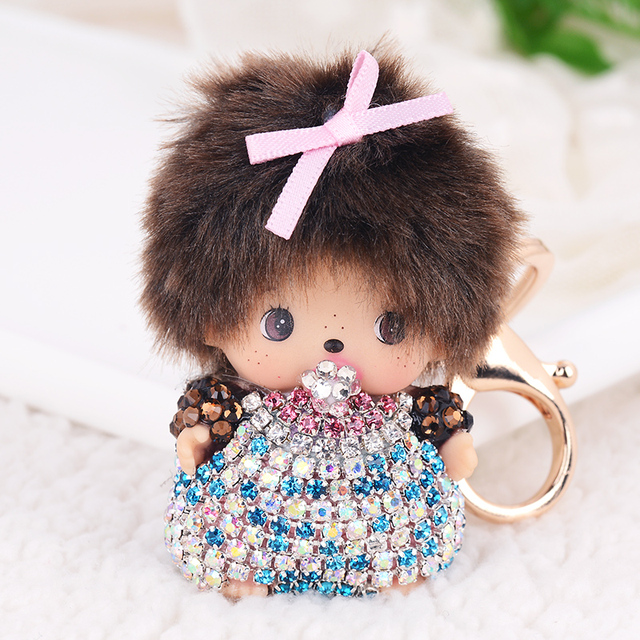 Cute Cartoon Anime Monchichi Keychain Fashion sleutelhanger Rhinestone Dolls Key chain key ring Women Bag Charm porte clef Gift