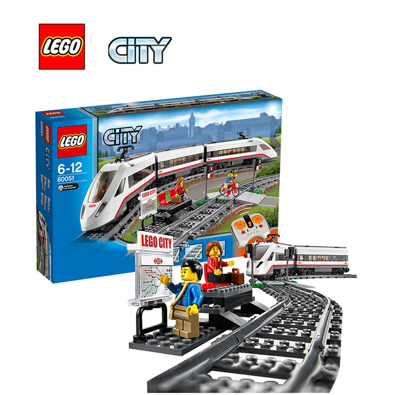 LEGO City High-speed Passenger Train Architecture Building Blocks Model Kit Plate Educational Toys For Children LEGC60051 lepin 02025 city the high speed racer transporter 60151 building blocks policeman toys for children compatible with lego