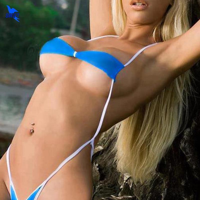 Sexy Women Blue Micro Mini Bandeau G-String Micro Bikini Microkini Underwear Beach Wear Sunbath Lingerie Swimwear Bathing Suit