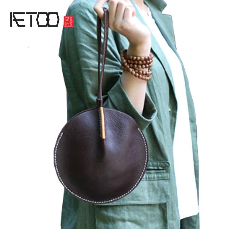 AETOO Original designer handbags leather mobile phone change bag Zen Chinese style retro leather round clutch