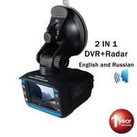 Radar Detector Car DVR 2 IN 1 Russian and English Voice Full Band K KA X Antiradar and Speed Gun 720P G Sensor Night Vision