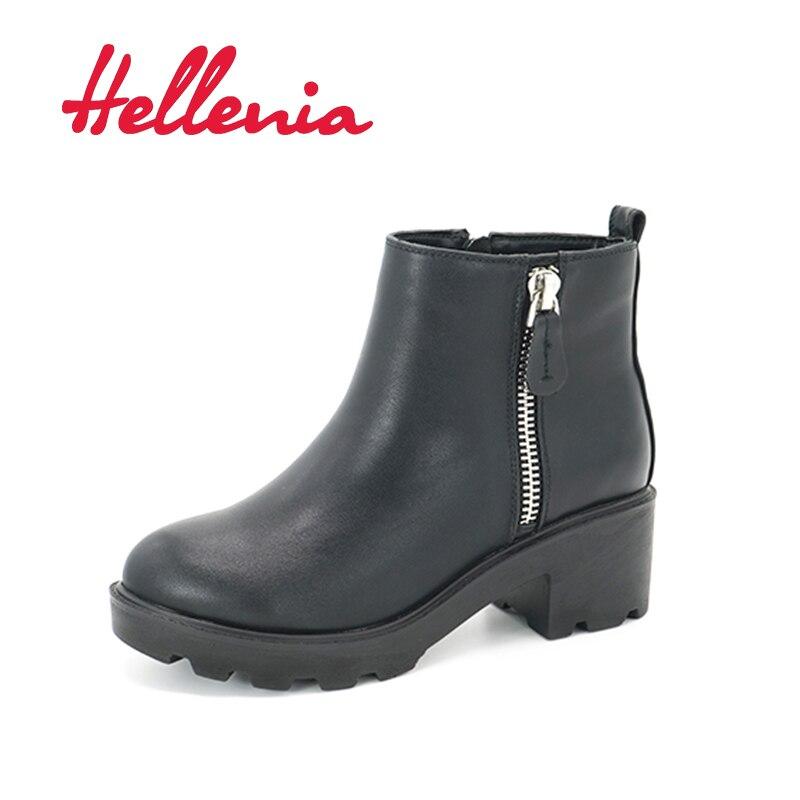 Hellenia D'hiver chaussures Pluie Bottes Femme Sneakers Carré Talon Polaires Doublure Plate-Forme de Mode Femmes Chaussures Cheville Classique Fermeture Éclair