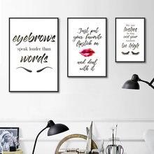 Красные губы Холст Картина мода макияж картинки настенные художественные