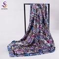 [BYSIFA] Señoras Gato de la historieta Cuadrado Bufandas de Invierno Mujeres Accesorios de Moda Marca Bufanda de Seda Gris Rosa pañuelo en la Cabeza 90*90 cm