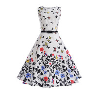 Floral Sleeveless Dress Mother Kids Clothes Dresses Print Party Butterfly Girl Clothing Spring Summer Family Matching