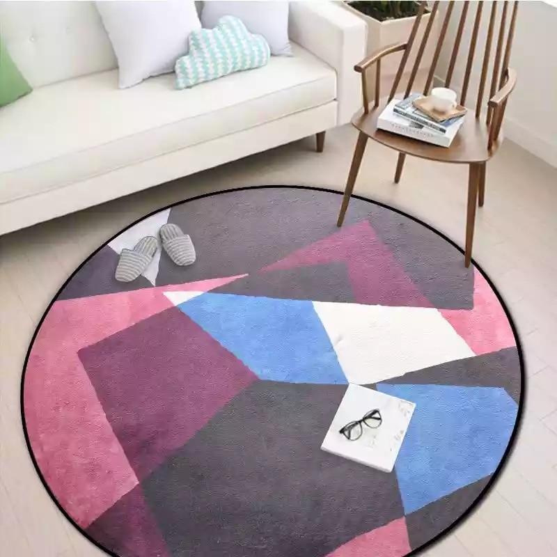 Круглые комбинированные ковры для спальни, мягкие фланелевые ковры для гостиной, Обюссон, ковры с геометрическим дизайном, европейские цветные круглые ковры - Цвет: ZZM3500