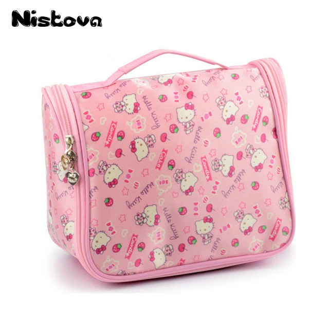 8d54f9f1f6 Hello Kitty Cosmetic Make Up Organizer Bag With Hanging HookToiletry Shower  Bag With Mesh Pocket For Girls Women s Vacation
