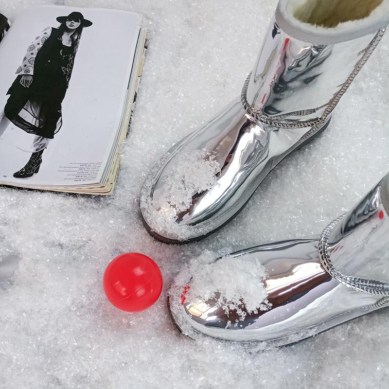 Antideslizante De Usar Botas Suela Estilo Invierno Señora Mujeres Peludo Yasilaiya Marca Caliente Nieve Las Moda Brillante Plata Fácil La nYxIq1R