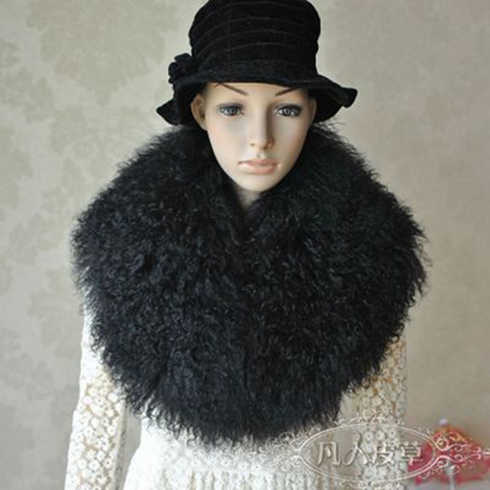 2018 Winter Coat Woman Genuine Mongolian Sheep Fur Collars Real Fur Scarf Women's Real Fur Wrap Stole  shawls and wraps