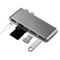Ładowania Czytanie Huby Karty Dual USB 3.1 Typ C Do 2 USB 3.0 Hub Adapter Dla Macbook Pro 13/15 Wielofunkcyjny Czytnik Kart SD TF