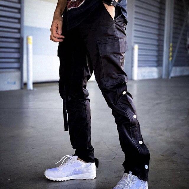 Nylon Snap Cargo Pants Men's Kanye West Streetwear Hip Hop Biker SweatPants for Men Straps Buttons Velcro Strap Closure Trousers 2