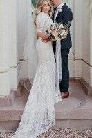 Lace Wedding Dresses 2019 Mermaid Beach Bridal Gowns Half Sleeves Sexy Vestidos de Novia gelinlik Marriage Traditional