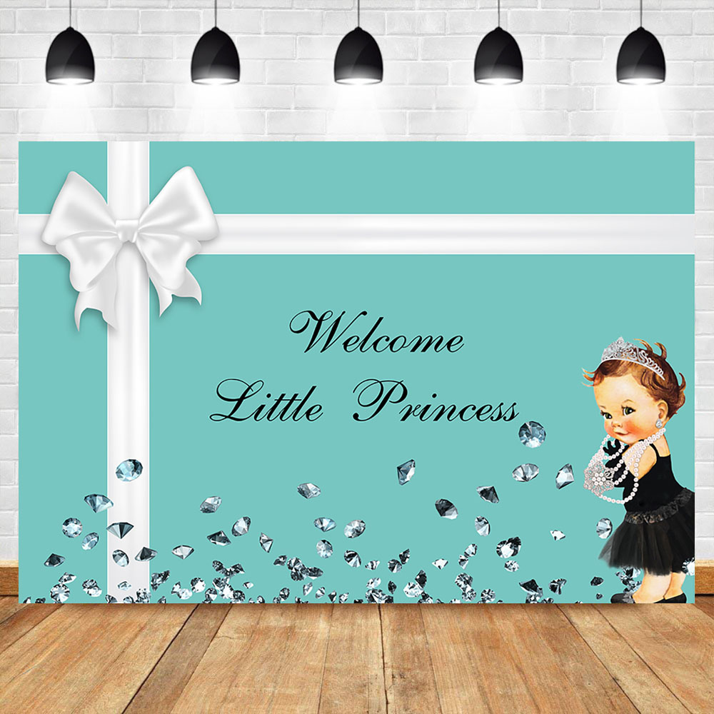 Welcome Little Princess Backdrop Dark Skin Girl Baby Shower Background Photography Blue Gift Box Baby Shower Party Backdrops Background Aliexpress