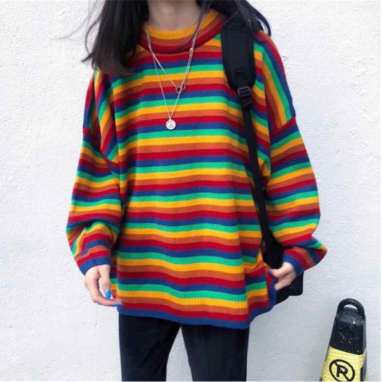 Красочный полосатый свитер женский осенний и зимний свободный круглый вырез толстый вязаный Топ