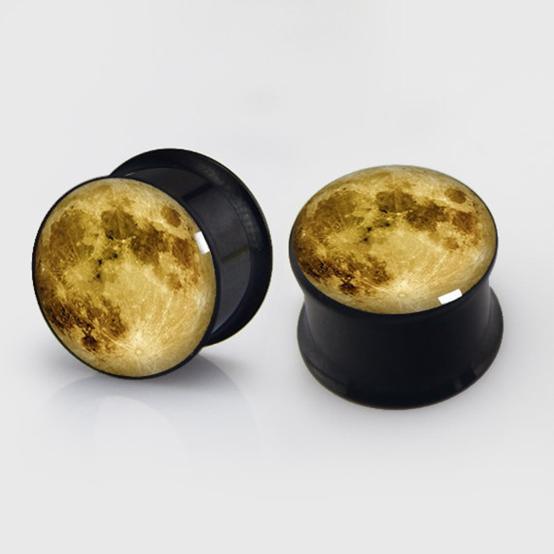 2 pieces Moon Plugs anodized black ear plug gauges steel flesh tunnel body piercing jewelry 1 pair