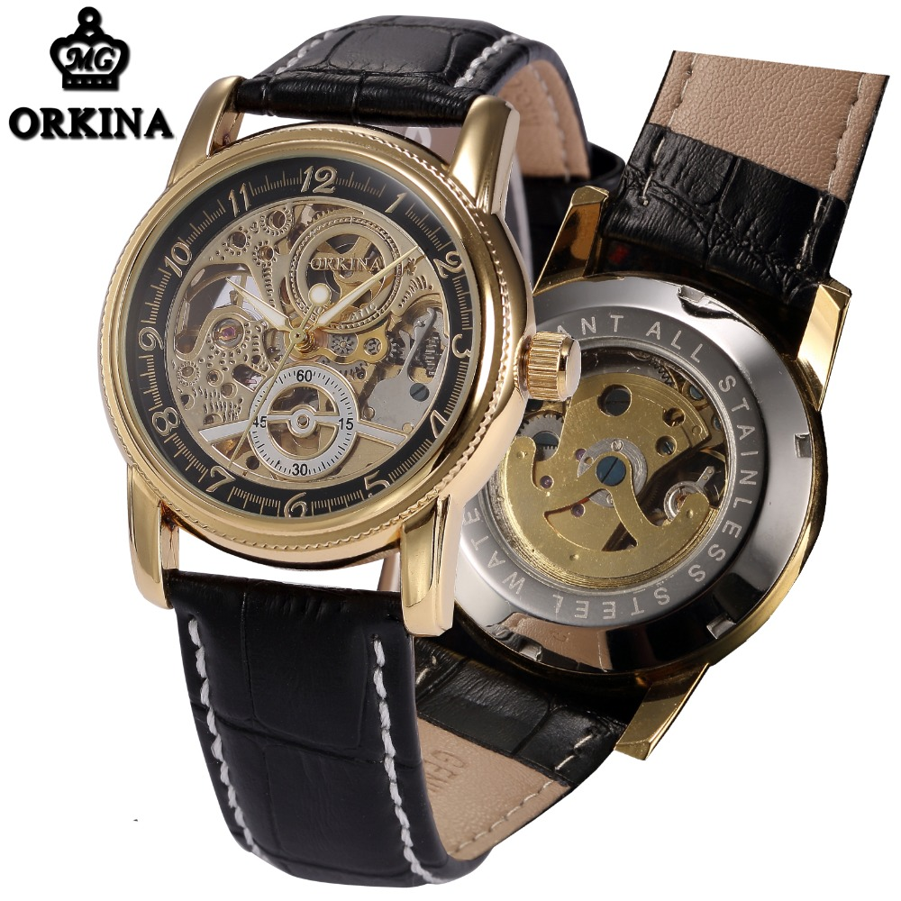 Automatic Watch Men Skeleton Mechanical Gold Leather Mens Wrist Watches Orkina Brand 2016 Self wind Luminous
