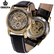 Automatic Watch Men Skeleton Mechanical Gold Leather Mens Wrist Watches Orkina Brand 2016 Self-wind Luminous Waterproof Clock