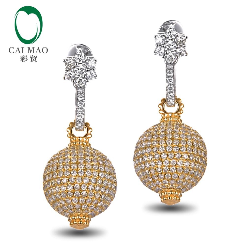 купить Caimao Jewelry Unique 14k Two-Tone Gold 4.35ctw Diamond Engagement Earrings Free Shipping недорого