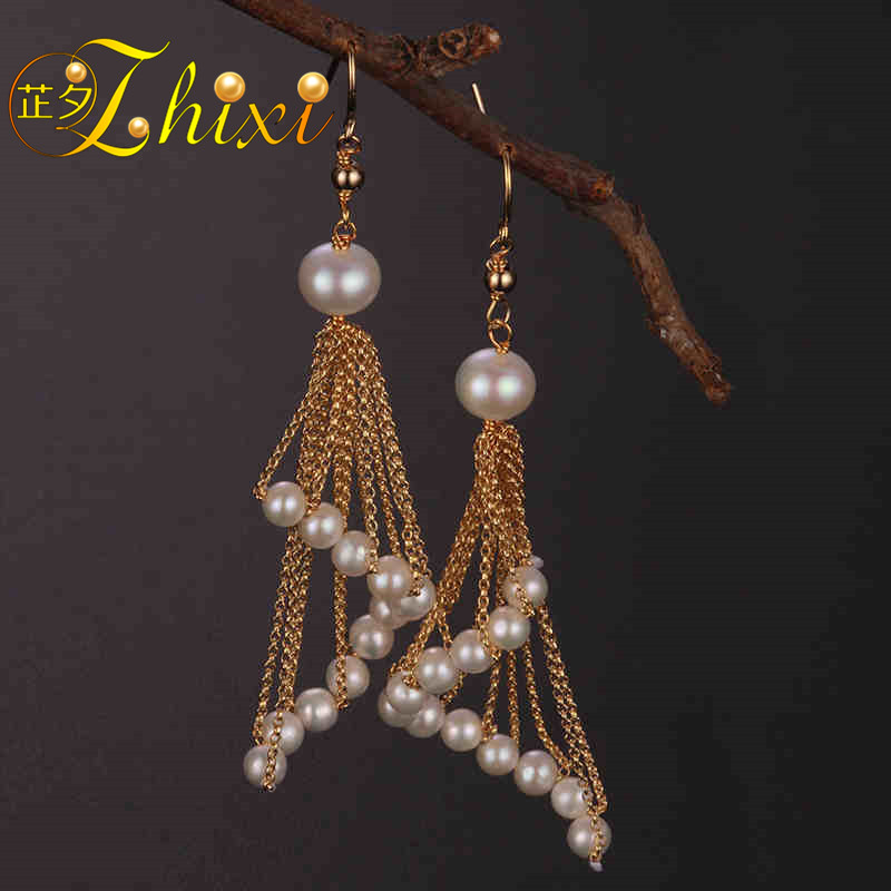 [ZHIXI] Long Tassel Pearl Earrings for Women Fine Jewelry Round Natural Pearl Drop Earrings Trendy Birthday Gift Sector XE211 цена